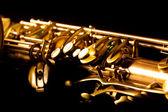 Tenor sax golden saxophone macro selective focus — Stock Photo