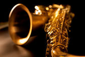 Tenor sax golden saxophone macro selective focus — Photo