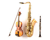 Sax tenor saxophone violin and clarinet in white — Stock Photo