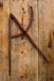Alte verrostete Eisen Tischler Werkzeug Zeichnung Kompass — Stockfoto
