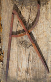 Drawing compass old in rusted iron carpenter tool — Stock Photo