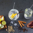 Gin tonic cocktail with lima and many spices — Stock Photo
