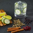 Stock Photo: Gin tonic cocktail with cucumber cloves cardamom cinnamon and ju