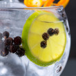 Stock Photo: Gin tonic cocktail macro closeup with juniper berries
