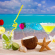 Caribbean tropical beach cocktails mojito margarita — Stock Photo #25353003