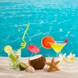 Caribbean tropical beach cocktails mojito margarita — Stock Photo