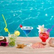 beach tropical cocktails on white sand mojito blue hawaii — Stock Photo