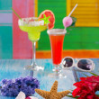 cocktails margarita sex on the beach in tropical house — Stock Photo