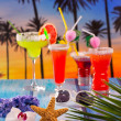 Cocktails margarita sex on the beach colorful tropical - Stock Photo