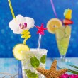 mojito and lemon lime cocktails in tropical blue wood — Stock Photo