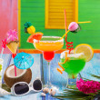 Colorful tropical Cocktails in tropical Caribbean house — Stock Photo
