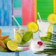Cuban Mojito cocktail in tropical blue wood flowers and starfish - Stock Photo