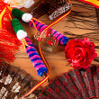 Stock Photo: Espanfrom Spain with flag rose fflamenco comb