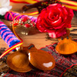 Stock Photo: Espantypical from Spain with castanets flamenco elements