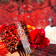 Flamenco comb fan and roses typical from Spain Espana — Stock Photo #25358553