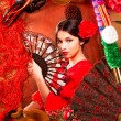 Flamenco woman with bullfighter and typical Spain Espana — Stock Photo
