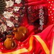 Castanets fan and flamenco comb typical from Spain - Stockfoto