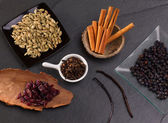 Cloves cardamom cinnamon vanilla juniper berries and cranberries — Stock Photo