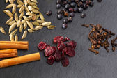 Cloves cardamom cinnamon juniper berries and cranberries — Stock Photo