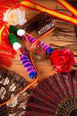 Espana från spanien med flaggan ros fan flamenco kamma — Stockfoto