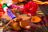 Espana typical from Spain with castanets flamenco elements — Stock Photo