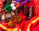 Espana typical from Spain castanets rose flamenco fan — Stock Photo