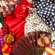 Espana typical from Spain with castanets rose flamenco fan - Stock Photo