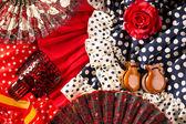 Espana típico da espanha, com ventilador de flamenco rosa de castanholas — Foto Stock