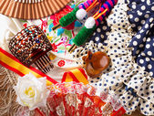 Espana typical from Spain with castanets rose flamenco fan — Foto Stock
