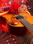 Cassic spanish guitar with flamenco elements — Stock Photo