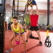 Crossfit fitness Kettlebells swing exercise workout at gym — Stock Photo #25462445
