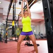 Crossfit fitness Kettlebells swing exercise workout at gym - Stock Photo