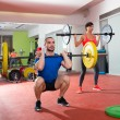 Crossfit fitness gym weight lifting bar group — Stockfoto