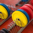 Crossfit fitness gym weight lifting bar equipment — Stock Photo