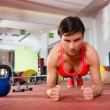 Crossfit fitness woman push ups pushup exercise — Stock Photo