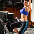 Foto de Stock  : Aerobics spinning monitor trainer woman stretching