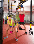 Crossfit fitness Kettlebells swing exercise workout at gym — Stock Photo