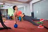 Crossfit fitness woman push ups kettlebell pushup exercise — Stock Photo