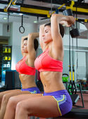 Crossfit fitness weight lifting Dumbbell woman at mirror — Photo