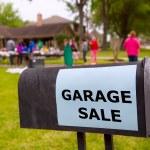 Garage sale in an american weekend on the yard — Stock Photo
