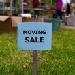 Moving sale in an american weekend on the yard — Stock Photo