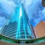 Houston downtown skyscrapers disctict blue sky mirror — Stock Photo #26185799