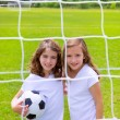 Soccer football kid girls playing on field — Stock Photo