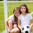 Soccer football kid girls playing on field — Stok fotoğraf