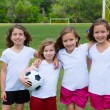 Soccer football kid girls team at sports fileld — Stock Photo