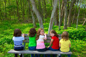 Children sister and friend girls sitting on forest park bench — Stok fotoğraf
