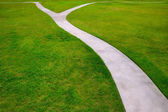 Garden lawn grass with a two option ways detour — Stock Photo