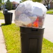 Trash bin dustbin full of garbage on street lawn — Stock Photo #26190535