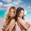 Children two friends girls happy in tropical beach vacation — Stock Photo #28268569