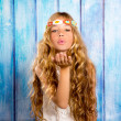 Blond hippie children girl blowing mouth with hand — Stock Photo